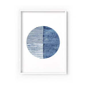 Wall art -Shibori NO.7 Indigo Art Print  (Framed/ Unframed)- (A-534a)
