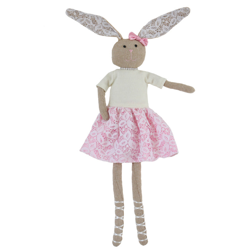 Rose -55 cm Dressed Pearls Rabbit plush doll -  Pink Dress  (T-40)