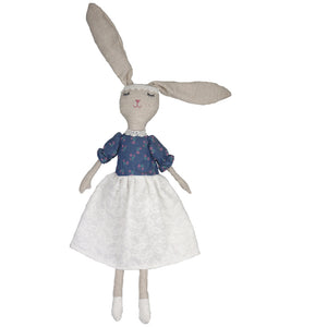 Nina -80 cm Cute Dressed Bunny plush doll -  Blue Dress  (T-41)