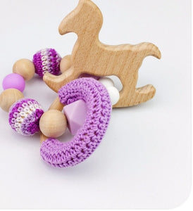 Toy - Baby Rattle  Horse Wood - Purple (T-5.3)