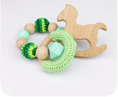 Toy - Baby Rattle  Horse Wood - Green  (T-5.2)