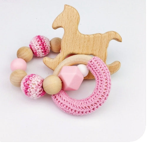 Toy - Baby Rattle  Horse Wood - Pink  (T-5.1)