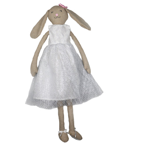 Melany -74 cm Dressed Bunny plush doll - White Dress  (T-55)