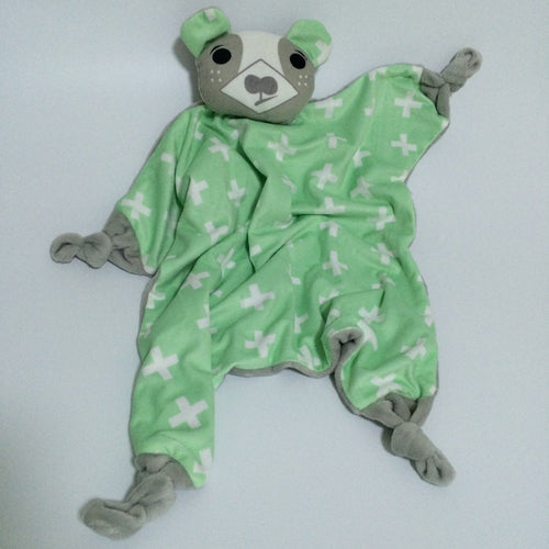 Baby soft toy/Comfy blanket - Green Bear (T-57)