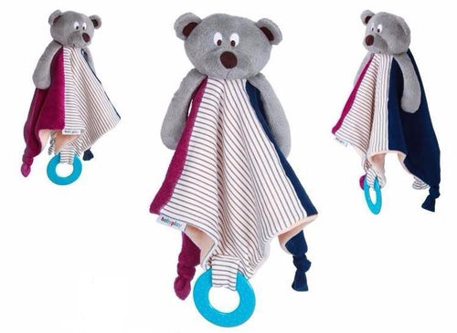 Baby soft toy/Comfy blanket with teething ring - Bear  (T-61)