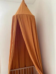 Cotton Bed Canopy  -  Brown Yellow (D-57)