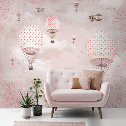 Wall Mural -  Pink Hot Air Balloons  (WM-14)