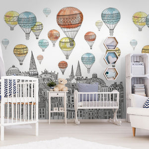 Wall Mural -Pencil sketch Hot-air balloon (WM-8)