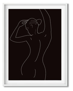 Wall Art -  Chalk Line Drawing on Black No. 2 - Framed / unframed art print (A-728)