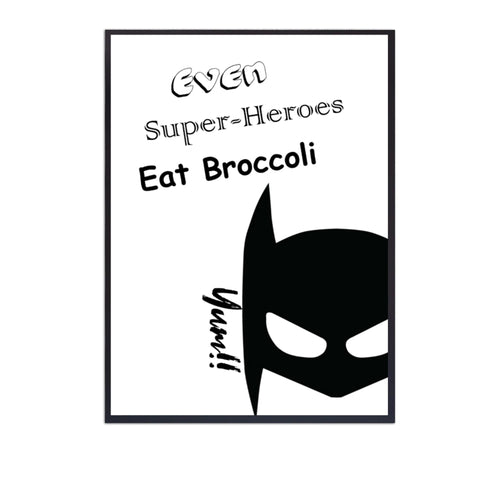 Wall Art -  Super Hero - B/W Typography print (A-759)