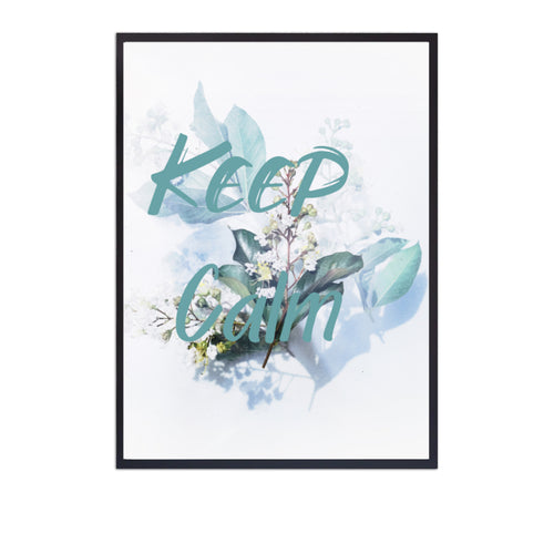 Wall Art -   Keep Calm Mint Typography On Blue Floral  Print (A-748)