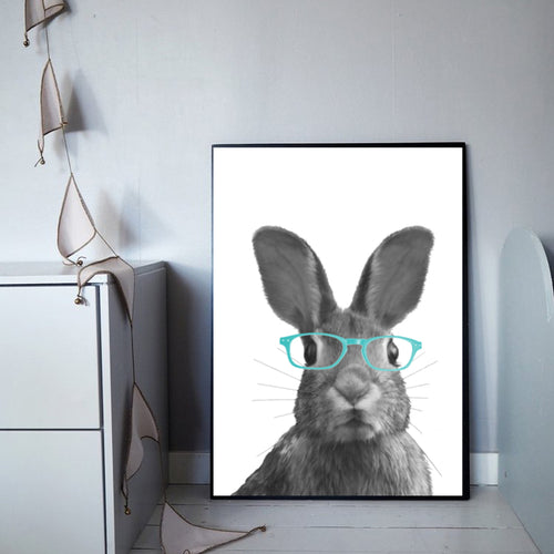Wall Art -  Oliver The Cute Bunny wearing blue glasses  (A-463)