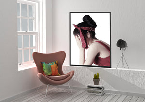 Wall Art - The Vintage Look  Burgundy on White Background (A-596)