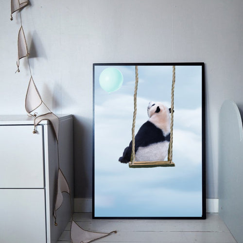 Wall Art -  Panda Bear On A Swing - Framed / unframed art print (A-448)