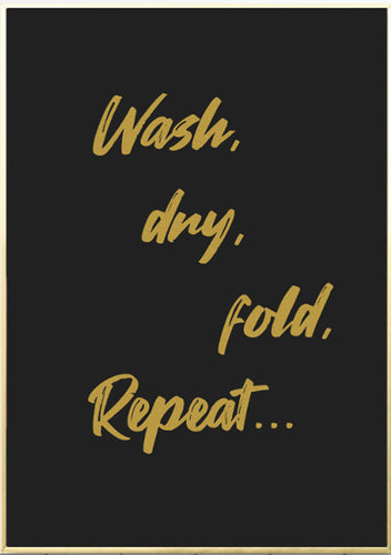 Wall Art - Laundry Typography print Gold On Black (A-738)