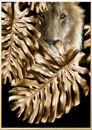 Wall Art -  Golden Lion  - Framed / unframed art print (A-370)