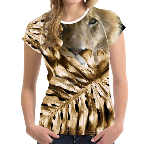 Short sleeve Woman's T-shirt  2 sides print-Golden Lion (G-T-04)