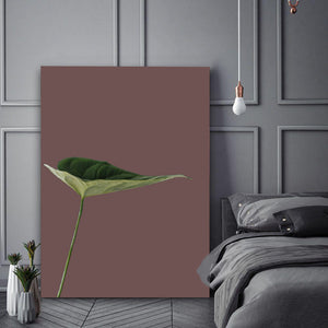 Wall Art - Leaf on Burgundy  (A-287)