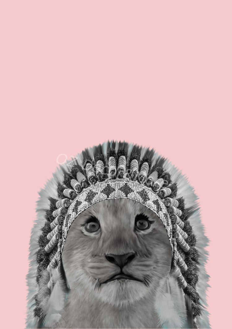 Wall Art -  Warrior Lion cub on Pink (A-410)