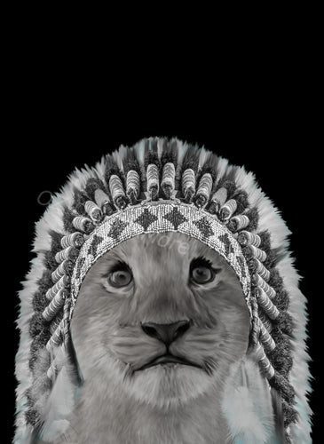 Wall Art -  Warrior Lion cub on Black (A-418)