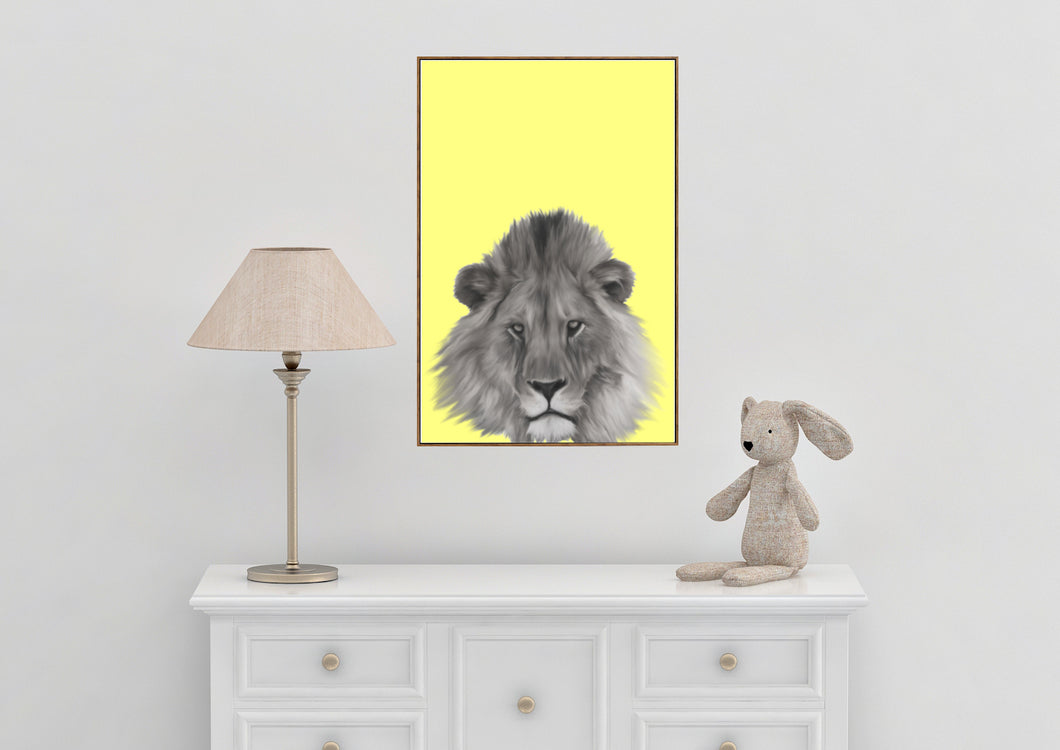 Wall Art -  B/W Lion on Buttercup (A-362b)