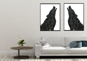 Wall Art -  Forest in Howling Wolf Silhouette  (A-515)