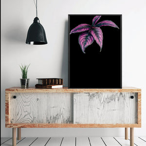 Wall Art - Pink Leaves on Black  (A-308)