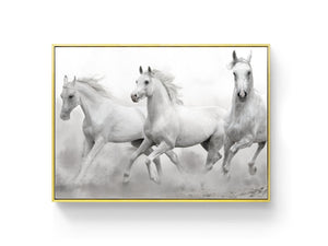 Wall Art -  B/W Horses  - Framed / unframed art print (A-765)