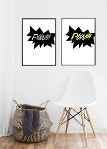 Wall Art -  POW - Super Hero  Typography print (A-760/760a)
