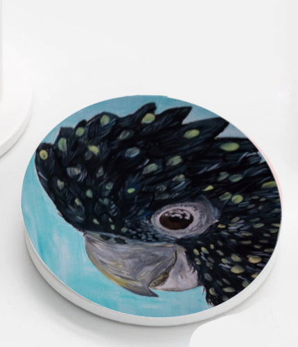 Ceramic Coasters set of 4 - Rocky The Black Cockatoo