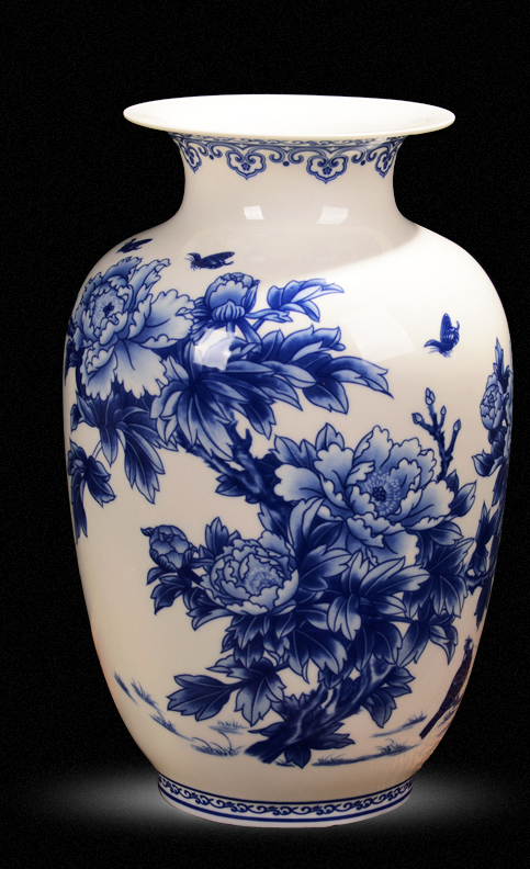 Decor - Blue and White Porcelain Look China Vase  - (D-178)