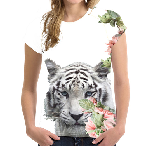 Short sleeve Woman's T-shirt  2 sides print- White floral Tiger (G-T-01)