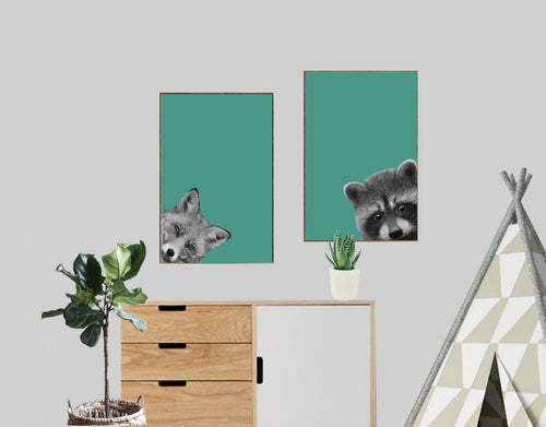 Wall Art -  Hello Raccoon - Woodland collection (A-412)