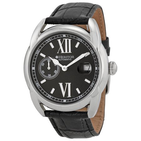 Heritor Burnell Black Embossed Dial Black Leather Mens Watch HR1803