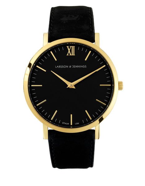 LARSSON AND JENNINGS Core Lugano 18K Gold-Plated Stainless Steel Bovine Leather Strap Watch