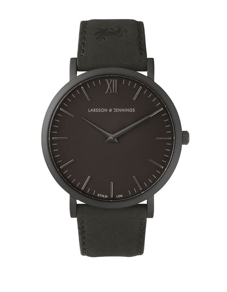 LARSSON AND JENNINGS Core Lugano Black PVD Stainless Steel Bovine Leather Strap Watch