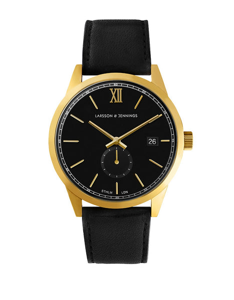 LARSSON AND JENNINGS Core Goldtone Stainless Steel Black Leather Strap Watch
