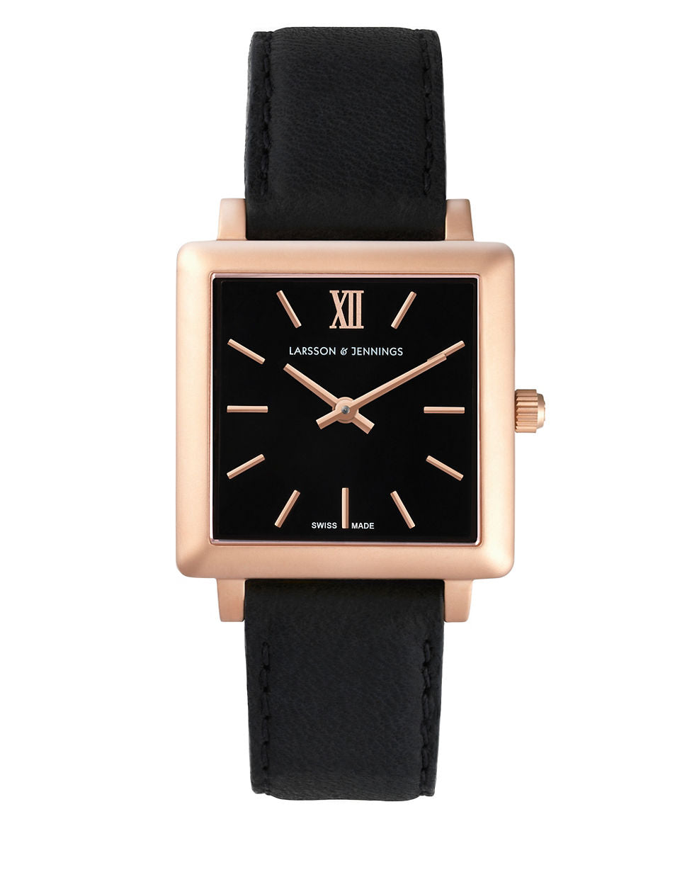 LARSSON AND JENNINGS Core Norse 18K Rose Gold-Plated Stainless Steel Black Bovine Leather Watch