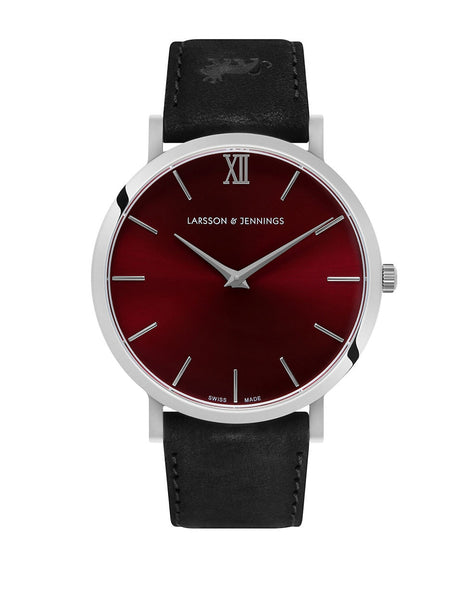 LARSSON AND JENNINGS Lugano Silver and Red Analog Watch