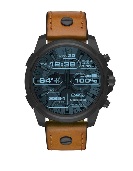 DIESEL Touchscreen Smartwatch Full Guard Stainless Steel Leather Strap Watch