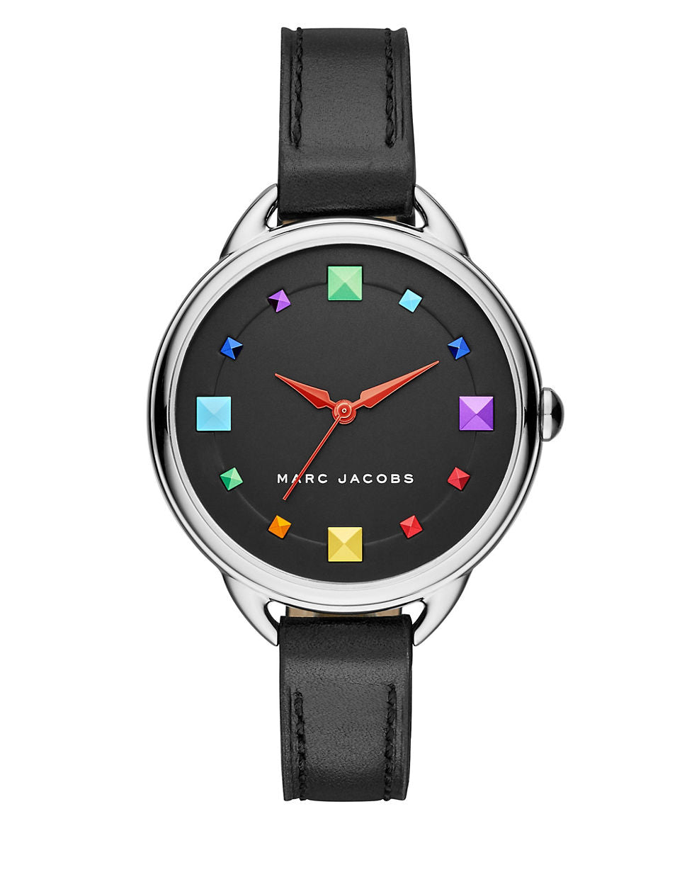 MARC JACOBS Betty Stainless Steel Black Leather Strap Watch