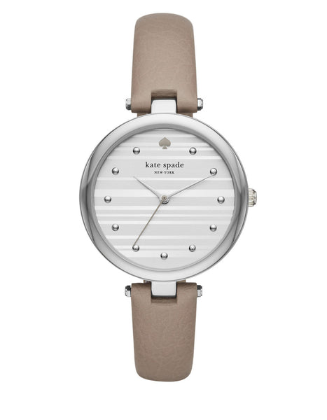 KATE SPADE NEW YORK Silvertone Leather Varick Watch