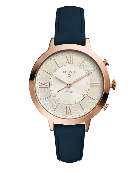 FOSSIL Q Jacqueline Navy Leather Hybrid Smartwatch