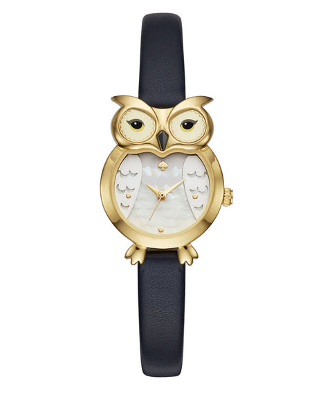 KATE SPADE NEW YORK Owl-Shaped Goldtone Stainless Steel Leather Strap Watch