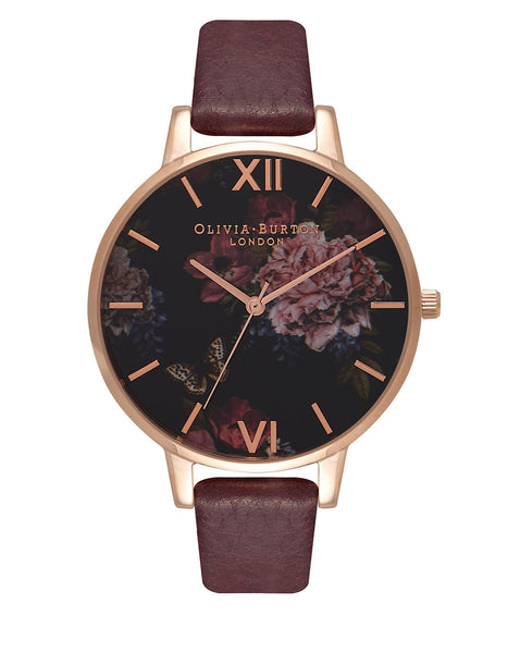OLIVIA BURTON Floral Burgundy Winter Garden Watch