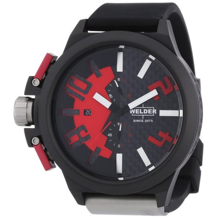 Welder by U-boat Chronograph Black PVD Steel Mens Watch Red Dial K35-2501