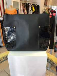 Black python pocket bag