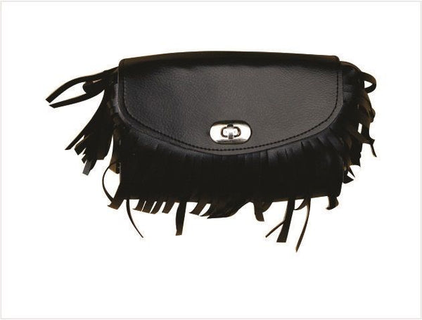 "7"" PVC Motorcycle Windshield Bag with Fringe and Braid"