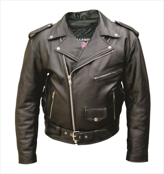 Mens Classic Leather Motorcycle Jacket - Plain Split Cowhide