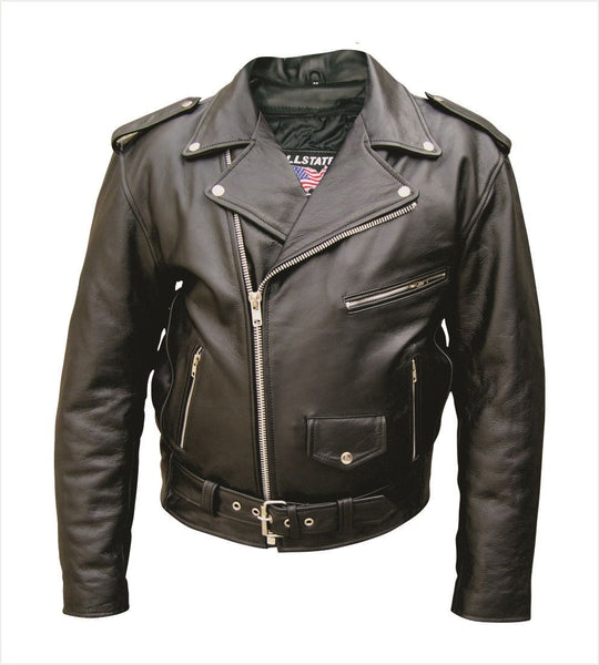 Mens Classic Leather Motorcycle Jacket - Split Cowhide